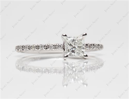 White Gold 0.59 Princess cut Bridal Wedding Sets
