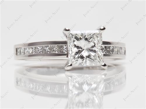 Platinum 1.44 Princess cut Channel Engagement Ring
