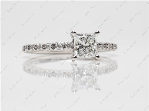 Platinum 0.62 Princess cut Diamond Wedding Rings