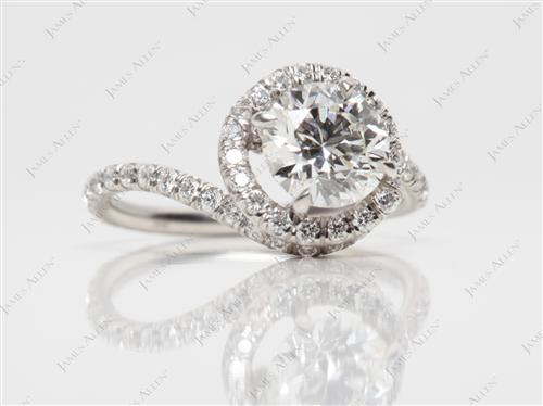 Platinum 1.07 Round cut Micropave Rings