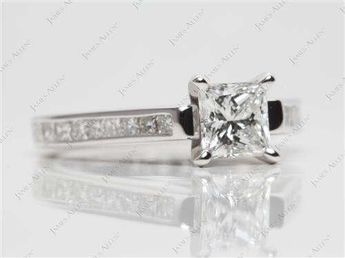 White Gold 0.70 Princess cut Channel Set Diamond Engagement Ring