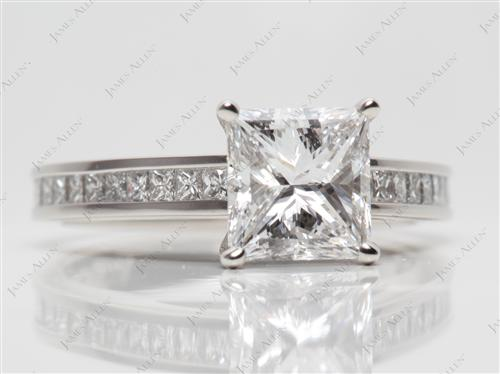 Platinum 1.70 Princess cut Channel Set Diamond Engagement Rings