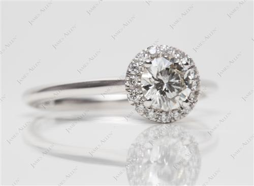 White Gold 0.52 Round cut Pave Rings