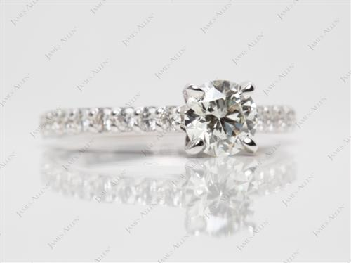 White Gold 0.79 Round cut Engagement Rings With Sidestones