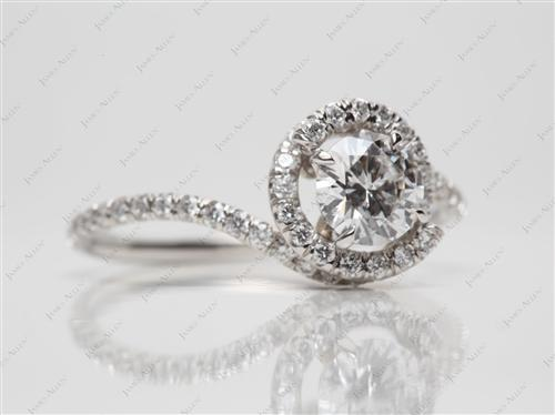Platinum 0.70 Round cut Micro Pave Ring