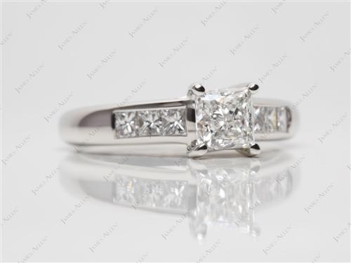 Platinum 0.80 Princess cut Channel Set Diamond Rings