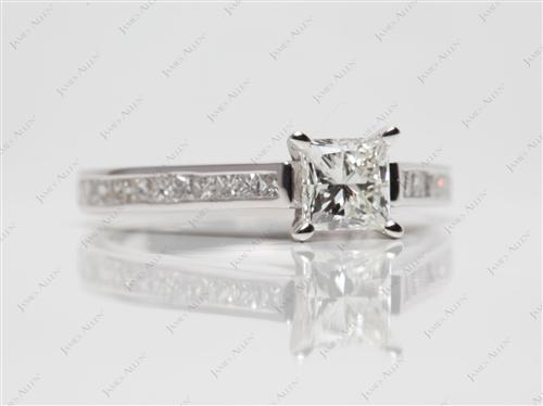 White Gold 0.84 Princess cut Channel Set Diamond Engagement Ring