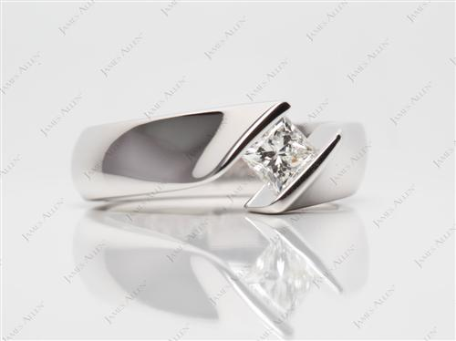 White Gold 0.54 Princess cut Tension Engagement Rings