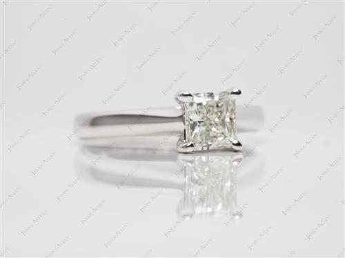 White Gold 0.93 Radiant cut Engagement Ring