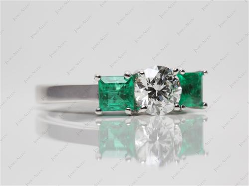 White Gold 0.70 Round cut Emerald Cut Rings