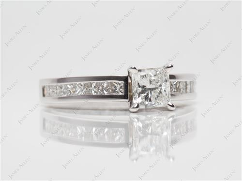White Gold 0.74 Princess cut Diamond Channel Ring