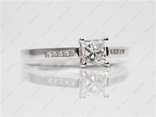 White Gold 0.73 Princess cut Channel Cut Ring