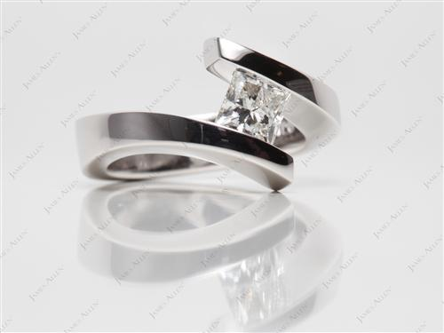 White Gold  Tension Set Engagement Rings