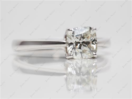 White Gold 1.11 Cushion cut Solitaire Diamond Rings