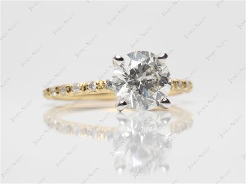 Gold 1.58 Round cut Pave Diamond Rings