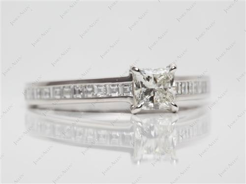 Platinum 0.61 Princess cut Channel Ring