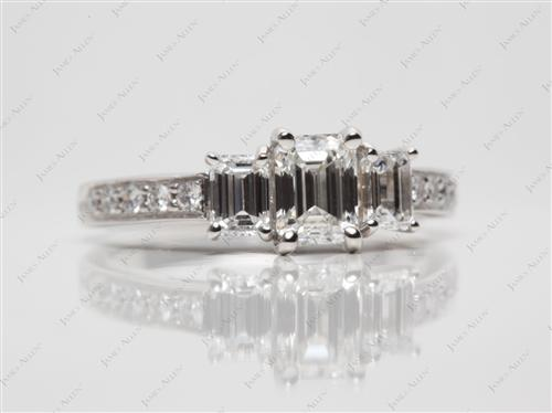 Platinum 0.72 Emerald cut Engagement Rings With Side Stones