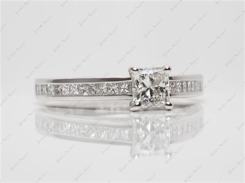Platinum 0.75 Princess cut Channel Setting Engagement Rings
