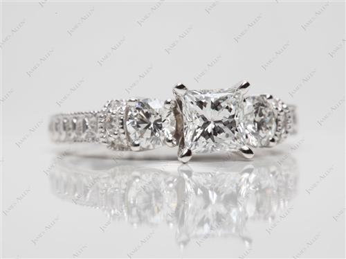 White Gold 0.67 Princess cut Engagement Rings Side Stones