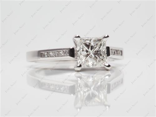 White Gold 1.01 Princess cut Channel Engagement Ring