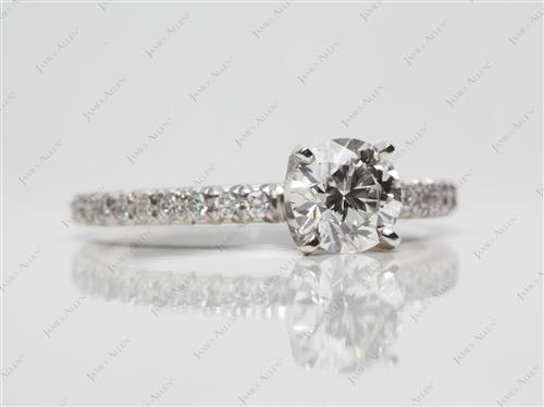 Platinum 0.70 Round cut Pave Ring