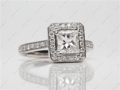 Platinum 1.05 Princess cut Pave Ring