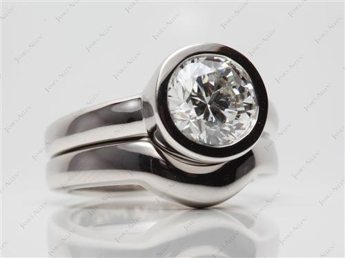 Platinum 2.16 Round cut Diamond Tension Rings