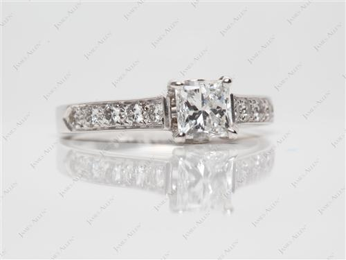 White Gold 0.91 Princess cut Engagement Rings
