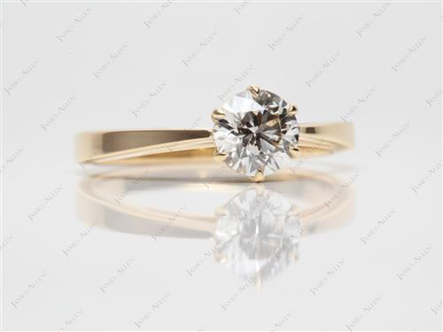 Gold 1.01 Round cut Solitaire Diamond Rings