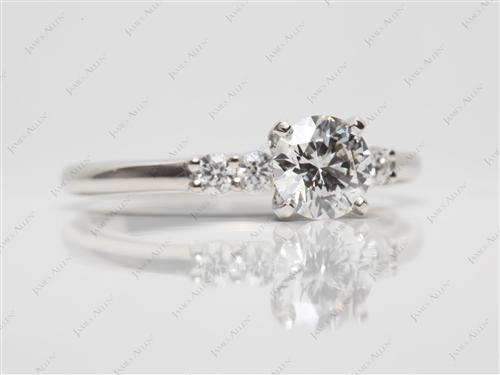 Platinum 0.72 Round cut Diamond Ring With Side Stones