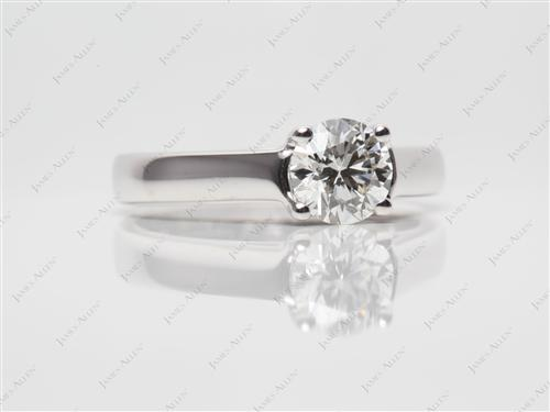 White Gold 0.75 Round cut Diamond Solitaire Ring Settings