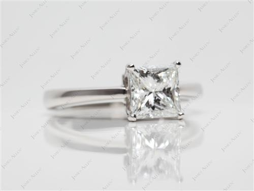 Platinum 1.08 Princess cut Solitaire Engagement Rings