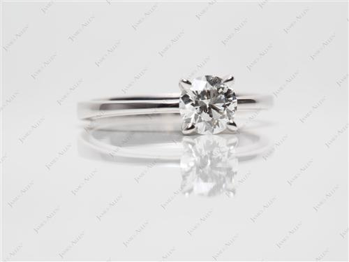 White Gold 0.74 Round cut Diamond Engagement Solitaire Rings