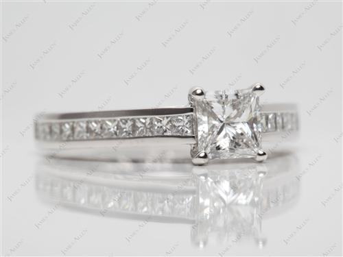 Platinum 0.71 Princess cut Channel Set Eternity Rings