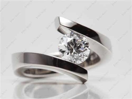 Platinum 1.29 Round cut Tension Setting Engagement Rings
