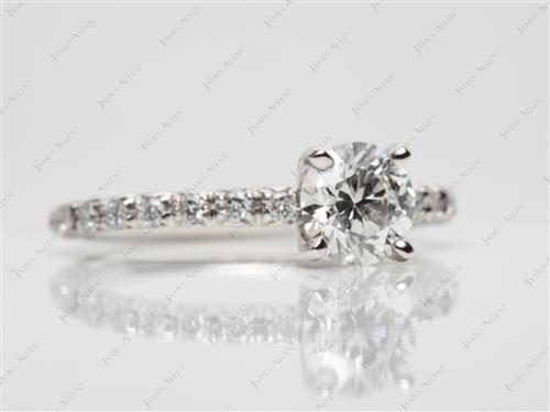 Platinum 0.91 Round cut Engagement Ring
