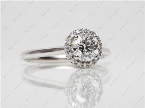 Platinum 0.81 Round cut Pave Setting Rings