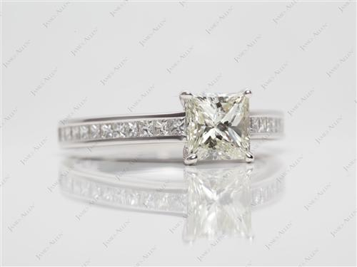 White Gold 1.02 Princess cut Channel Rings