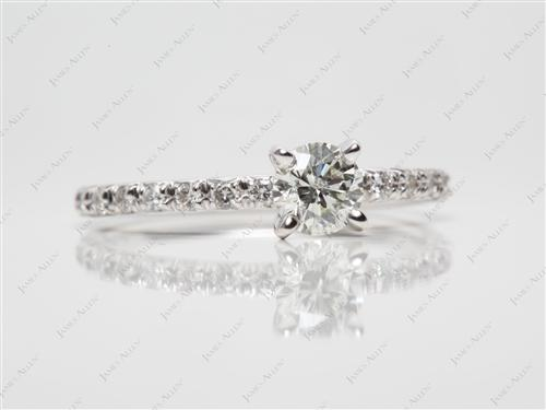 White Gold 0.58 Round cut Pave Diamond Engagement Ring