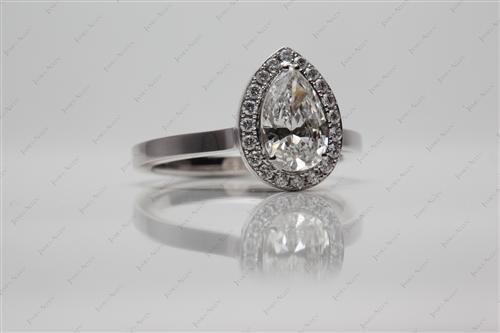 White Gold 1.13 Pear shaped Pave Diamond Ring