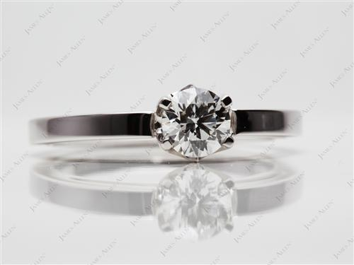 White Gold 0.79 Round cut Solitaire Engagement Ring
