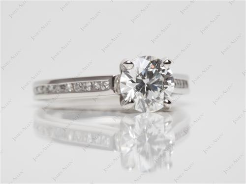 Platinum 1.10 Round cut Channel Setting Engagement Rings