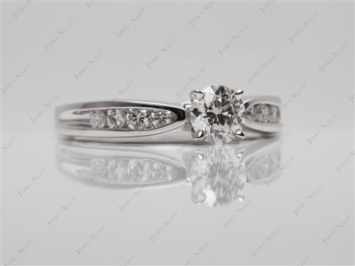 White Gold 0.55 Round cut Diamond Channel Ring