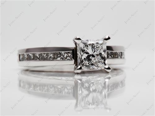 Platinum 1.04 Princess cut Channel Cut Ring