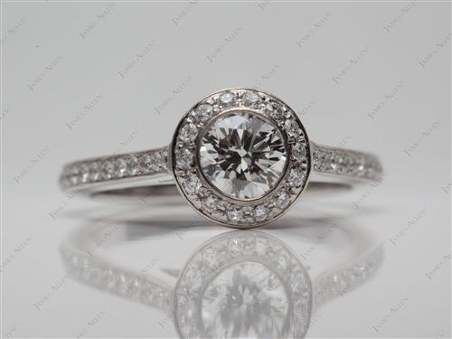White Gold 0.75 Round cut Pave Ring Mountings