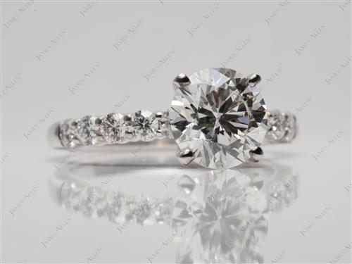 White Gold 1.79 Round cut Sidestone Engagement Ring