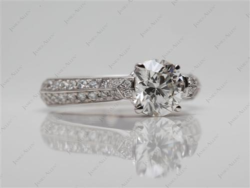 White Gold 0.78 Round cut Micro Pave Diamond Engagement Rings