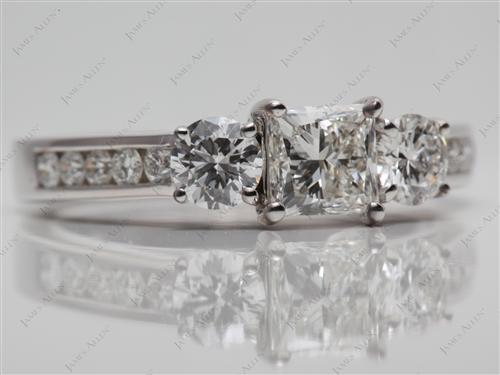 White Gold 0.77 Princess cut Three Stones