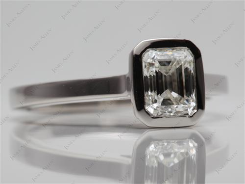 Platinum 1.00 Emerald cut Solitaire Engagement Rings