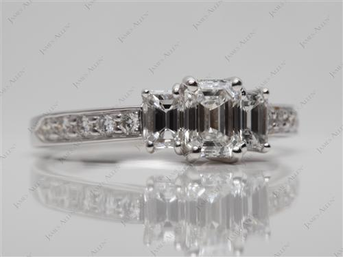 White Gold 0.70 Emerald cut Engagement Rings Side Stones